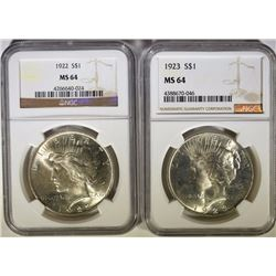 1922 & 1923 PEACE DOLLARS NGC MS-64
