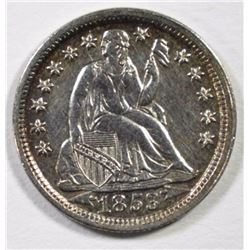 1853 SEATED DIME ARROWS AU+