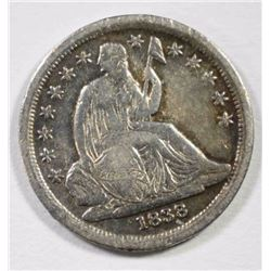 1838 SEATED DIME XF