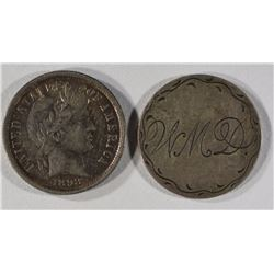 1898 BARBER DIME XF/AU & 1872 SEATED DIME LOVE
