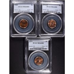 3- PCGS MS66RD GRADED LINCOLN CENTS