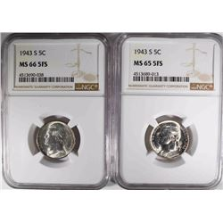 (2)1943-S JEFFERSON NICKLES NGC MS-65 FS + 66 FS