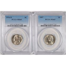 1954-D & 57 JEFFERSON NICKELS PCGS MS-65