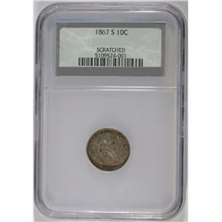 1867-S SEATED DIME, NCS AU - MINOR MARK - RARE!