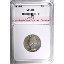 1932-S WASHINGTON QUARTER, CCGS VF