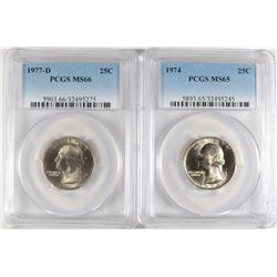 PCGS GRADED QUARTERS: 1974 MS-65, 77-D MS-66
