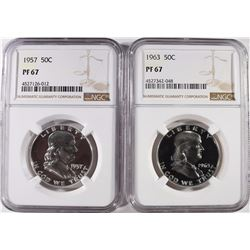 1957 & 1963 FRANKLIN HALVES, NGC PF-67
