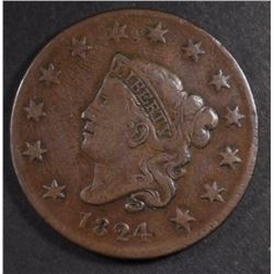 1824 LARGE CENT, FINE/VF
