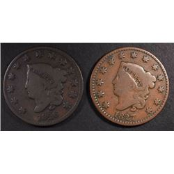 1826 & 1827 LARGE CENTS, VG+ KEY DATES