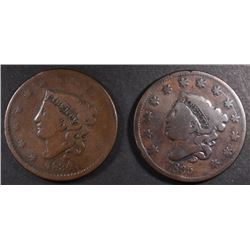 1834 & 1835 LARGE CENTS, VG