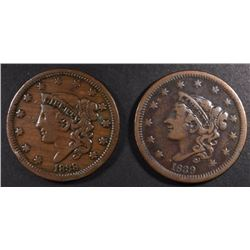1838 & 1839 LARGE CENTS, F/VF