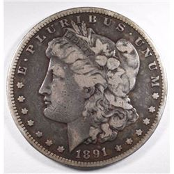 1891-CC MORGAN DOLLAR, VG