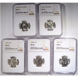 5-NGC GRADED MS-66 JEEFFERSON NICKELS