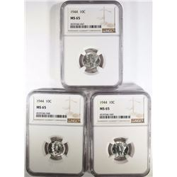 (3) 1944 MERCURY DIMES NGC MS65