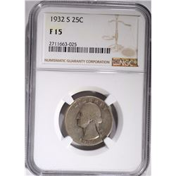1932-S WASHINGTON QUARTER, NGC FINE-15