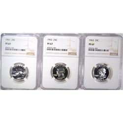 1961, 1962 & 1963 WASHINGTON QUARTERS, NGC PF-67