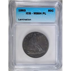 1863 SEATED HALF DOLLAR, ICG MS-64 PROOF LIKE