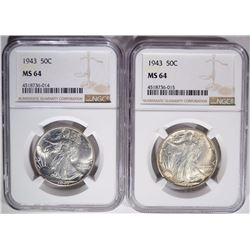 (2) 1943 WALKING LIBERTY HALF DOLLARS, NGC MS-64