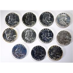 11 - PROOF FRANKLIN HALF DOLLARS 1958-1963
