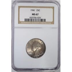1941 WASHINGTON QUARTER NGC MS 67