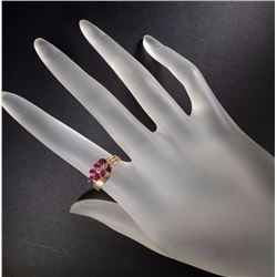 14kt GOLD RING w/RUBIES & DIAMONDS