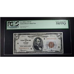 1929 $5 FED RESV BK NOTE PCGS 58 PPQ