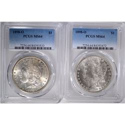 2 1898-O MORGAN DOLLARS PCGS MS64