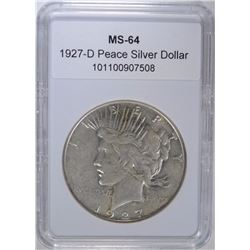 1927-D PEACE DOLLAR CH BU (LOOKS AU)