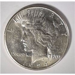 1924-S PEACE SILVER DOLLAR, AU/UNC  SEMI KEY