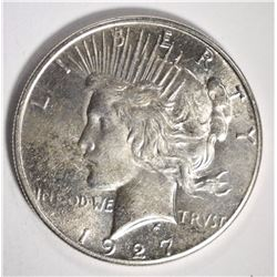 1927-S PEACE SILVER DOLLAR, BU SEMI KEY