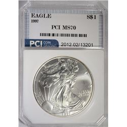 1997 AMERICAN SILVER EAGLE PCI PERFECT GEM BU