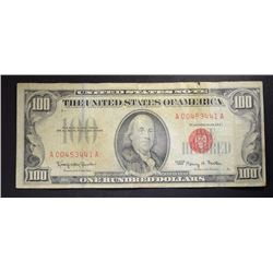 1966 $100.00 RED SEAL U.S. NOTE  CIRC