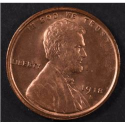 1918-S LINCOLN CENT GEM RED BU  RARE