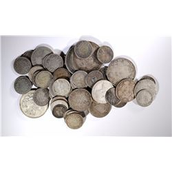 49 %80 SILVER FOREIGN COINS, MANY OLDER DATES
