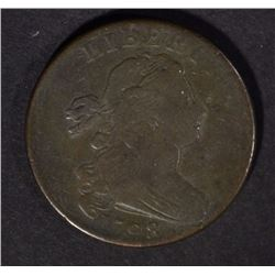 1798 DRAPED BUST LARGE CENT, F/VF