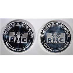 2-REPUBLIC METALS ONE OUNCE .999 SILVER ROUNDS
