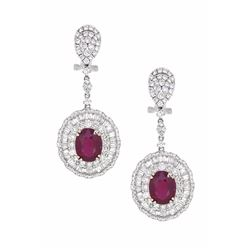 18KT White Gold 7.44ctw Ruby and Diamond Earrings