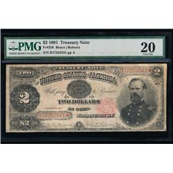 1891 $2 Treasury Note PMG 20