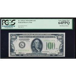 1934 $100 Chicago Federal Reserve Note LGS PMG 64PPQ