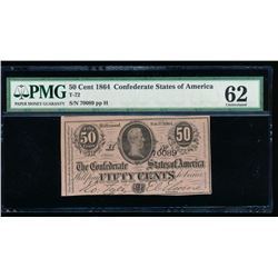 50 Cent 1864 Confederate Sates of America Note PMG 62