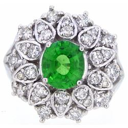 14KT White Gold 1.61ct GIA Cert Tsavorite and Diamond Ring