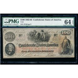 1862-63 $100 Confederate States of America Note PMG 64EPQ