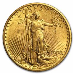 1908 $20 Saint Gaudens Double Eagle Gold Coin No Motto