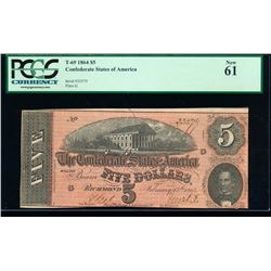 1864 $5 Confederate Sates of America Note PCGS 61