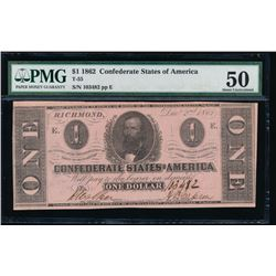 1862 $1 Confederate States of America Note PMG 50