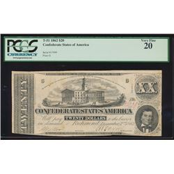 1862 $20 Confederate States of America Note PCGS 20