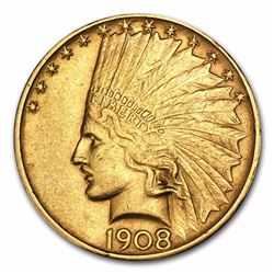 1908-D $10 Indian Head Eagle Gold Coin No Motto