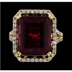 14KT Yellow Gold 12.34ct Rubellite and Diamond Ring
