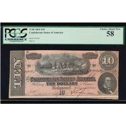 1864 $10 Confederate Sates of America Note PCGS 58