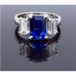 Platinum 2.32ct Blue Sapphire and Diamond Ring
